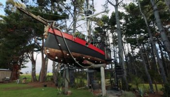 Someone Transformed An Old Sailboat Into A Pirate Ship Treehouse You Can Live In