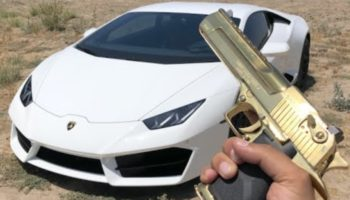 Guy Shoots At His Grandpa's Bulletproof Lamborghini With Different Caliber Guns While He's Out Of Town