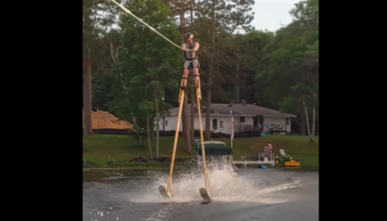 Guy Straps On 11-Feet-Long Stilts, Decides To Go Waterskiing