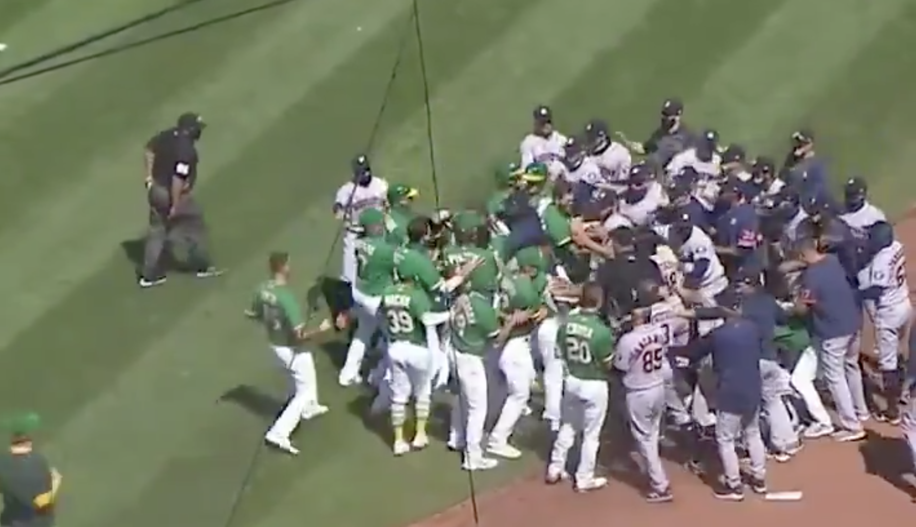 Benches Cleared In This Seventh Inning Brawl Between The Houston Astros And Oakland Athletics