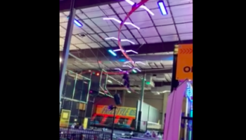 Man Zip-Lines With Too Much Momentum, Accidentally Wipes Out Employee