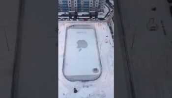 Janitor Makes An Epic Snow Drawing Of An iPhone