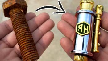 Guy Transforms A Rusty Old Bolt Into A Shiny New Pocket Lighter