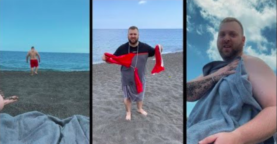 Guy Has Priceless Reaction After Wife Pranks Him With Swim Shorts That Fall Apart
