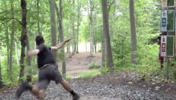 Disc Golfer Kevin Jones Slips, Falls And Still Nails An Ace From 530 Feet