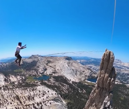 Adrenaline Junkie Performs A Slackline Stunt That's Sure To Give You A Sinking Feeling