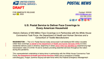 Read The Scrapped USPS Announcement To Send Five Masks To Every American Household