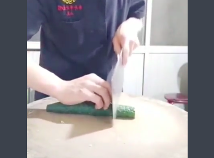 Chef Flexes Impeccable Knife Skills, Creates A Cucumber Slinky