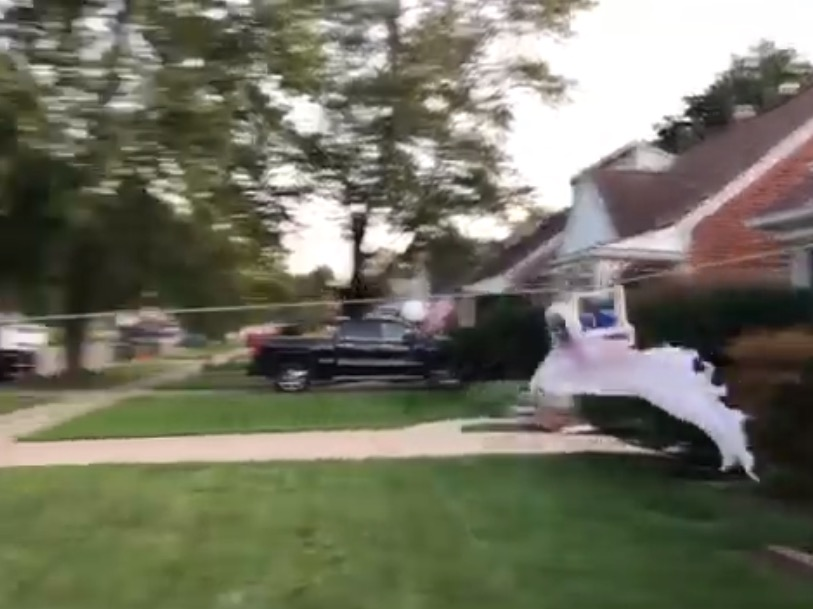 Someone Built A Brilliant Zip Line Contraption That Allows Trick-Or-Treaters To Get Candy While Social Distancing