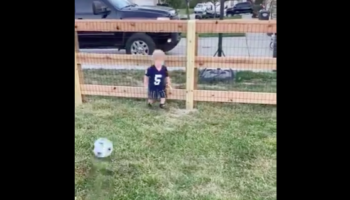 Kid Tries His Best To Play Soccer, Kid Fails In The Best Possible Way