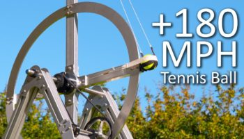 Engineer Builds A Flywheel Trebuchet That Can Launch A Tennis Ball At 180 MPH
