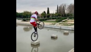 Biker Uses Incredible Skills To Cross A Canal