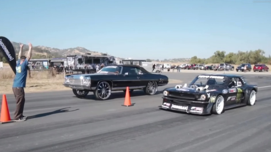 Watch Ken Block's 'Hoonicorn' Ford Mustang Face Off Against The 'World's Fastest Donk'