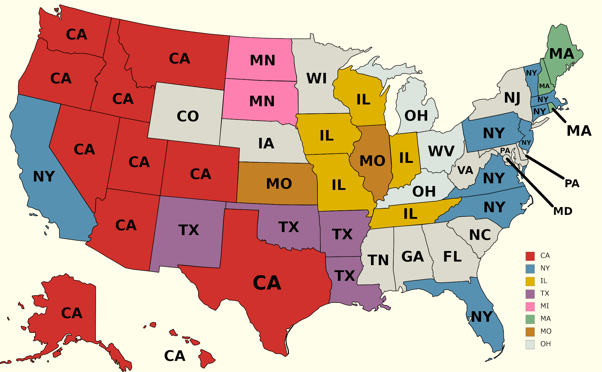 Where The Most Out-Of-State Residents Come From In Each State, Visualized