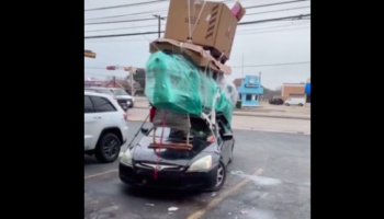This Is Way Too Much Stuff Stacked On A Car