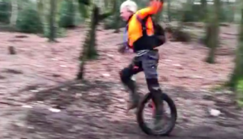 This Is How Well Things Go When An Unicyclist Tries To Go Through A Mountain Trail