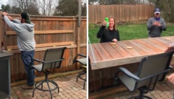 Guy Creatively Turns His Fence Into A Bar For Neighbors