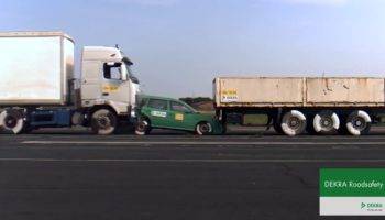 This Is What Happens When A Car Sandwiched Between Two Trucks Gets Rammed From The Back